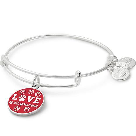 "Alex and Ani ""Love is All You Need"" Adjustable Bangle Charm Bracelet"