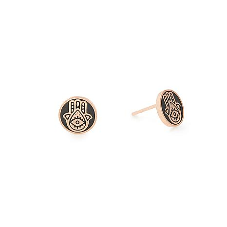 Alex and Ani Rosetone Gold-Plated Sterling Silver Hamsa Stud Earrings