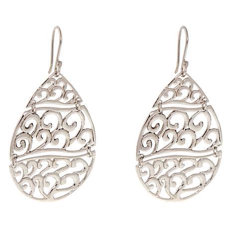 Amena K® Silver Designs Sterling Silver Swirl Drop Earrings