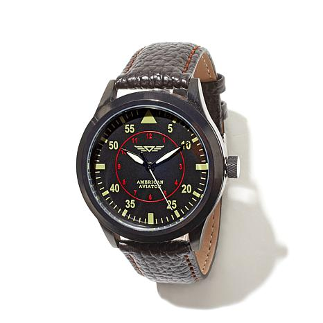 American Aviator Commemorative Leather-Strap Watch