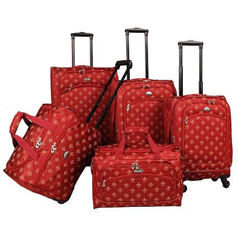 American Flyer Fleur de lis 5-Piece Spinner Luggage Set