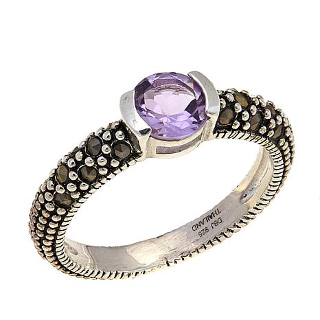 Amethyst and Marcasite Sterling Silver Ring - February