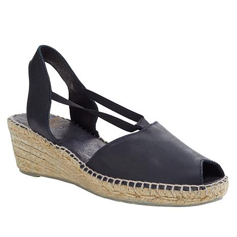 André Assous Dainty Leather Espadrille Wedge Sandal