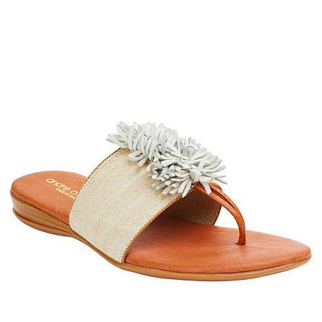 André Assous Novalee Fringed Elastic Stretch Flat Sandal