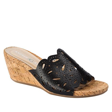 11f4fe23819 Andrew Geller Flavie Cork-Wrapped Wedge Slide - 8915268