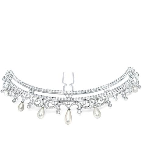Andrew Prince 10.42ctw CZ and Simulated Pearl Scroll Hair Pin