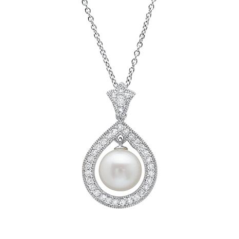 Andrew Prince CZ and Cultured Freshwater Pearl Drop Pendant