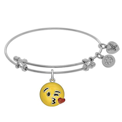 Angelica Blowing Kisses Emoji Dangle Wire Expansion Bangle Bracelet