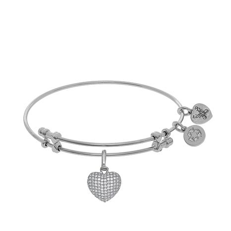 Angelica Heart Dangle Wire Expansion Bangle Bracelet
