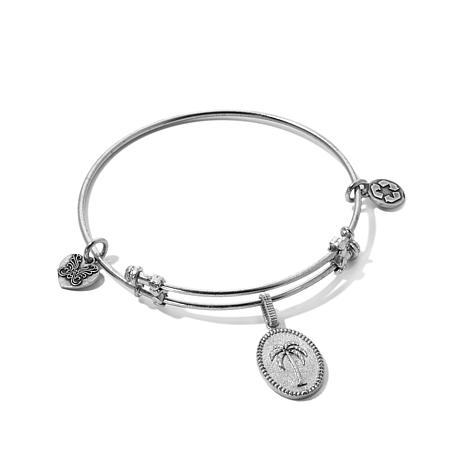 Angelica Palm Tree Charm Slide-Clasp Bangle Bracelet