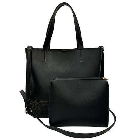Anna Cai Faux Leather Tote with Matching Pouch