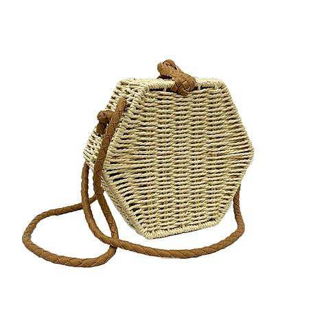 Anna Cai Natural Straw Hexagon Crossbody Bag
