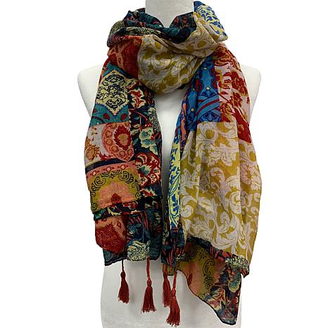 Anna Cai Tapestry Scarf with Fringe Tassels