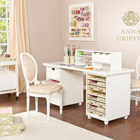 Anna griffin craft room paper storage desk base 7236288 for Room furniture organizer