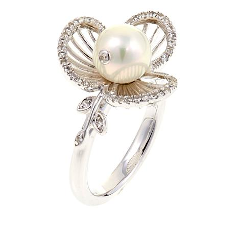 "Anne Geddes ""Forever"" White Cultured Pearl Flower Ring"