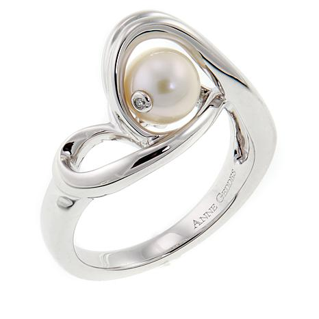 """Anne Geddes """"Infinity"""" White Cultured Freshwater Pearl Ring"""