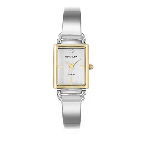 Anne Klein 2-tone Silvertone Tank Dial Bracelet Watch