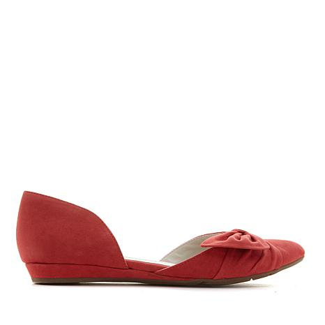 Anne Klein Bette Suede or Fabric Bow Flat