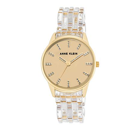 Anne Klein Champagne Dial Clear Bracelet Watch