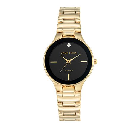 Anne Klein Diamond Accent Black Dial Bracelet Watch