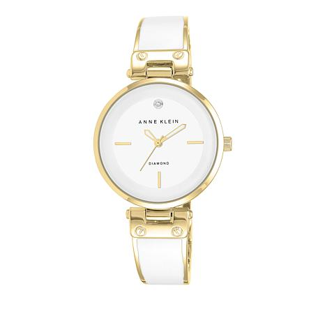 Anne Klein Goldtone Diamond-Accented White Dial Bracelet Watch