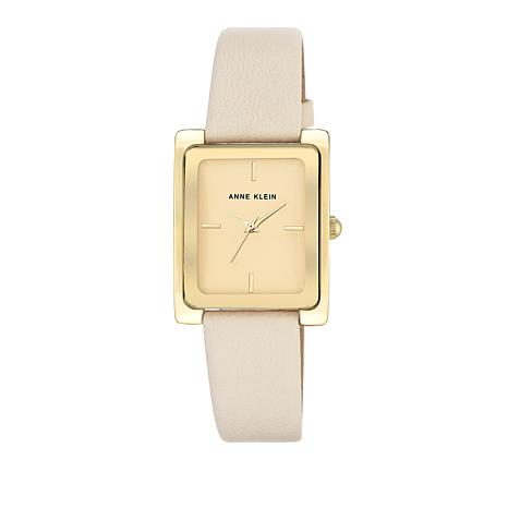 Anne Klein Goldtone Ivory Leather Strap Watch