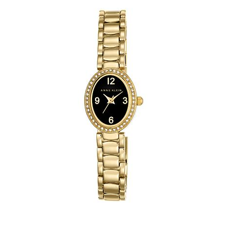 Anne Klein Goldtone Oval Black Dial Bracelet Watch