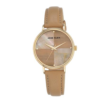 Anne Klein Goldtone Round Tan Dial Leather Strap Watch
