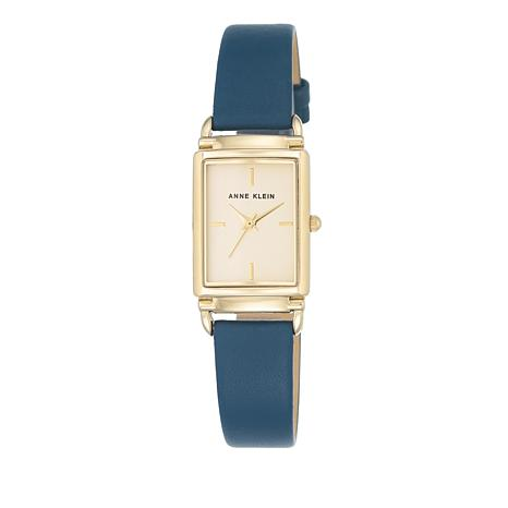 Anne Klein Goldtone Tank Case Blue Leather Strap Watch