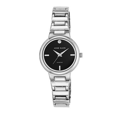 Anne Klein Silvertone Diamond-Accented Black Dial Watch