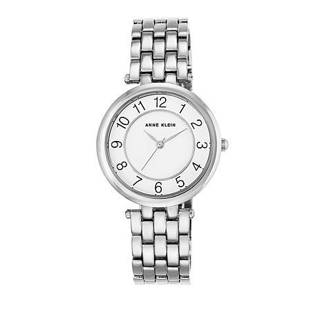 Anne Klein Silvertone Glossy White Dial Dress Bracelet Watch