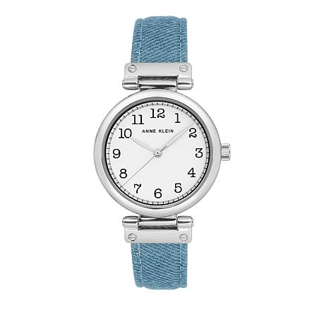 Anne Klein Silvertone Light Denim Strap Watch