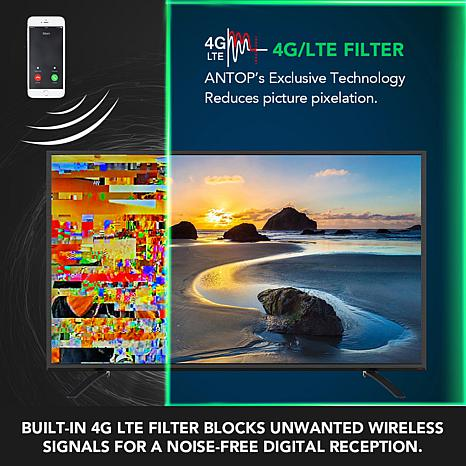 ANTOP AT-500SBS HD Smart Bar Amplified TV Antenna with 80-Mile Range