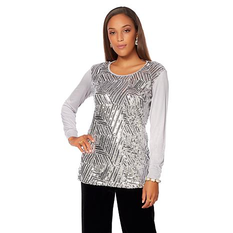 "Antthony ""Couture"" Mixed Media Sequin Long-Sleeve Top"