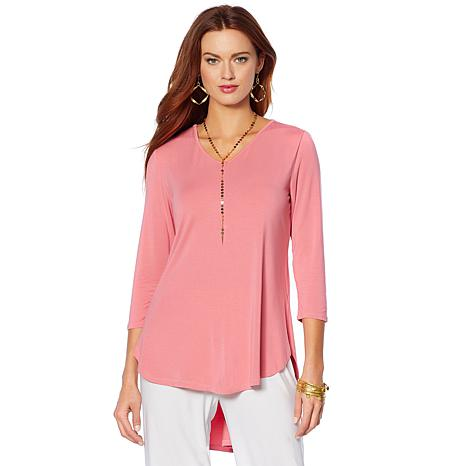 """Antthony """"Dance in Color"""" V-Neck Top with 3/4 Sleeves"""