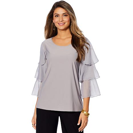 """Antthony """"Diamond Couture"""" Ruffle Sleeve Top"""