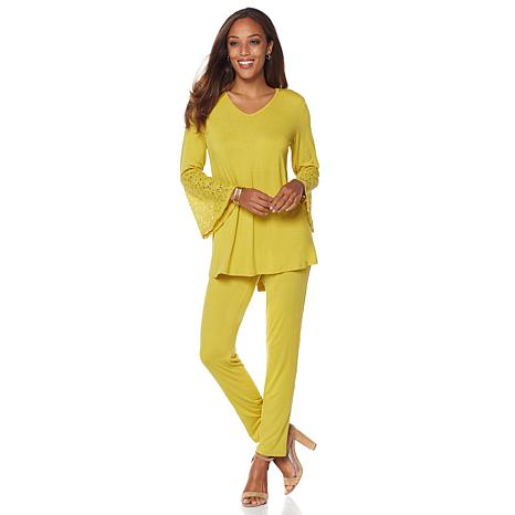 """Antthony """"Escape in Style"""" Lace Top and Pant Set"""