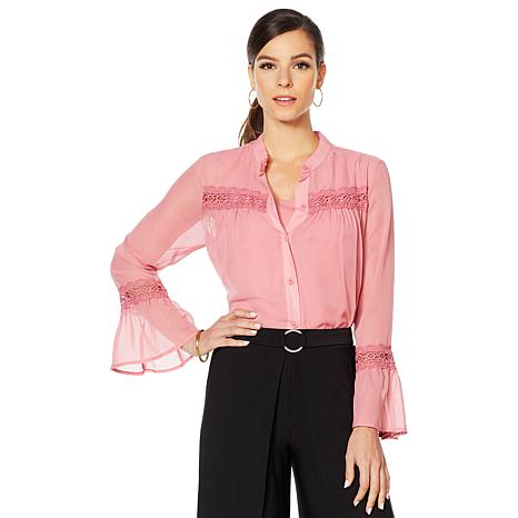"Antthony ""Fleur For Me"" Chiffon Blouse with Jersey Tank"