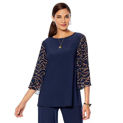"""Antthony """"Jewel of the Nile"""" Chiffon Pleated Sleeve Top"""