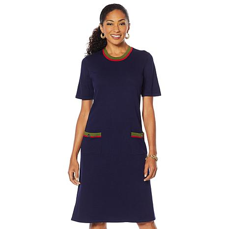 "Antthony ""Spectator"" Sweater Knit Boat-Neck Dress"