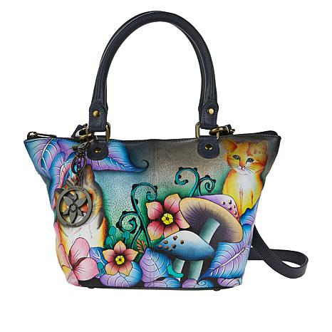 Anuschka Hand-Painted Leather Shoulder Tote with Accessories