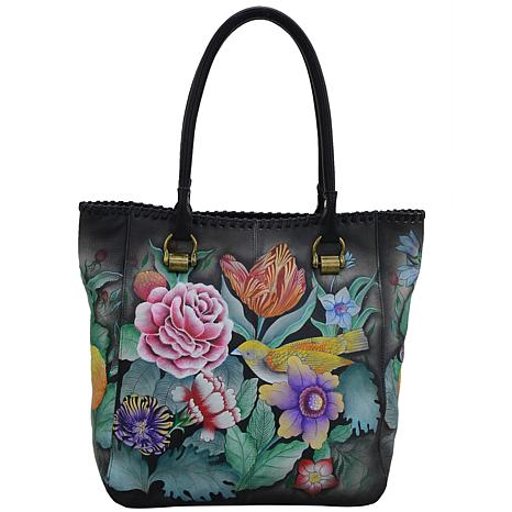 Anuschka Hand-Painted Leather Tall Tote with Double Handle