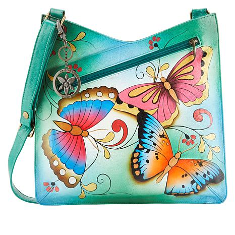 Anuschka Hand-Painted Leather V-Top Crossbody with Organizer