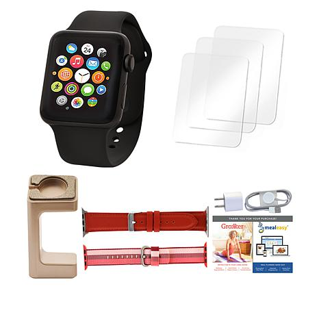 Apple® Series 3 38mm Sport Watch with Extra Bands and Stand - Black
