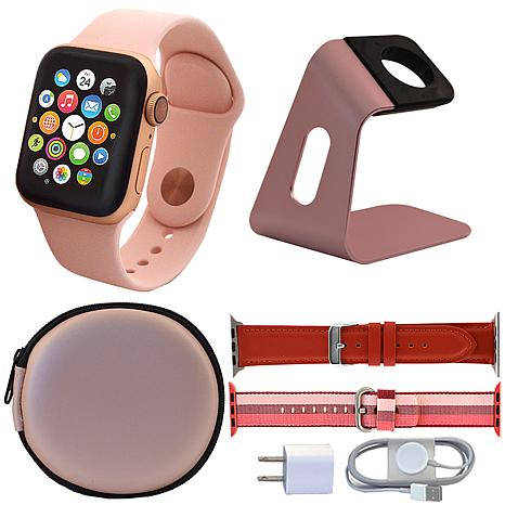 Apple Watch Series 4 40mm w/Leather Band, Nylon Band and Accessories