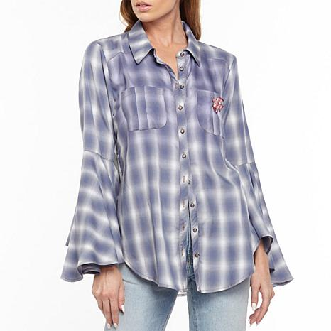Aratta Port D'Eirissa Bell-Sleeve Plaid Shirt - Soft Blue