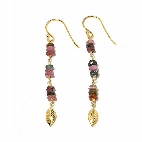 Argento Vivo Multicolor Tourmaline Bead Drop Earrings