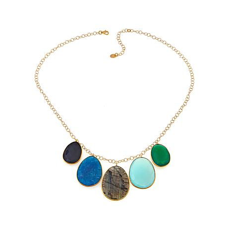 """Argento Vivo Oval Multistone Gold-Plated 18"""" Necklace"""