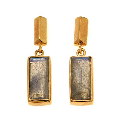 Argento Vivo Rectangular Labradorite Drop Earrings