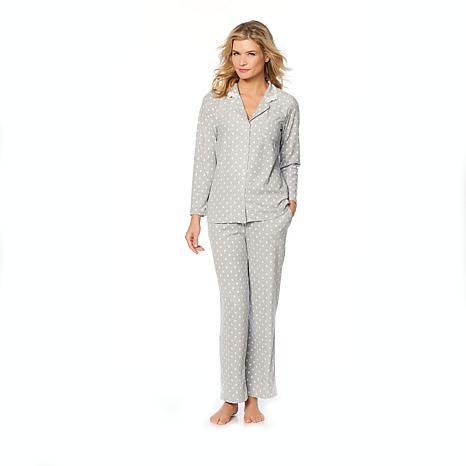 Aria Textured Grid Microfleece Pajama Set